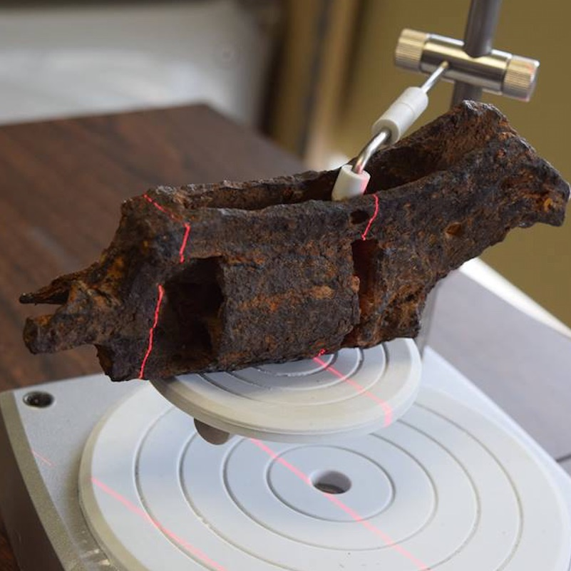 Revolver found at archeological dig being 3D scanned